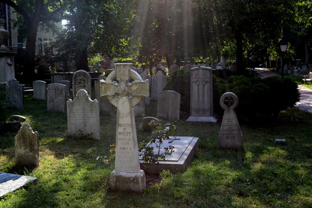 The graveyard at St. Peter's Church in Society Hill.