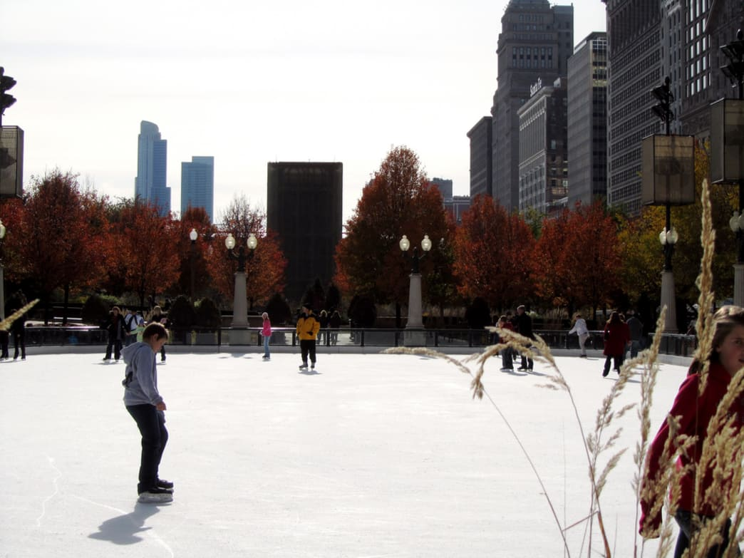 On a cold day, ice skating is available at Millennium Park, even in the fall.