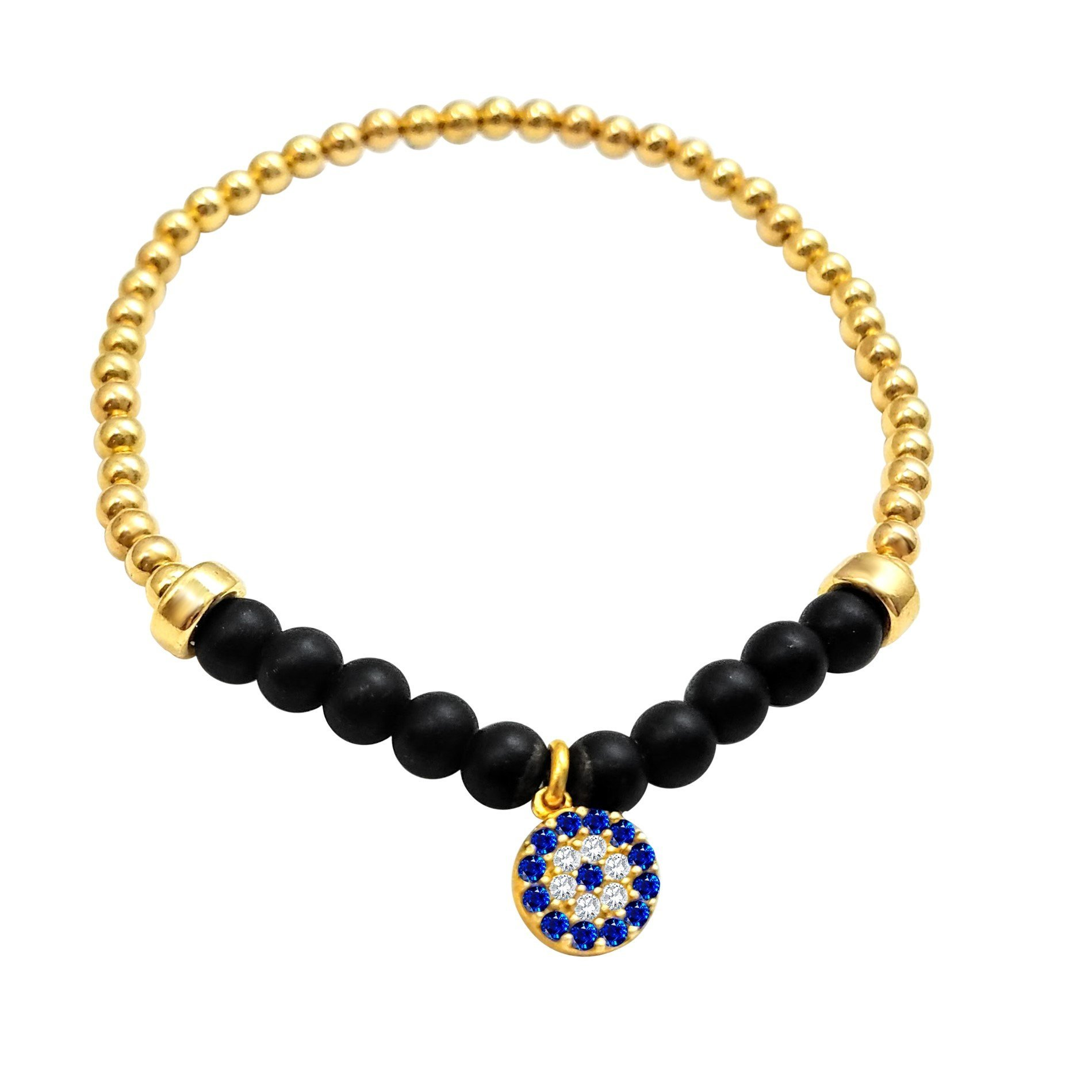 evil eye bracelet with black gemstones for power and protection